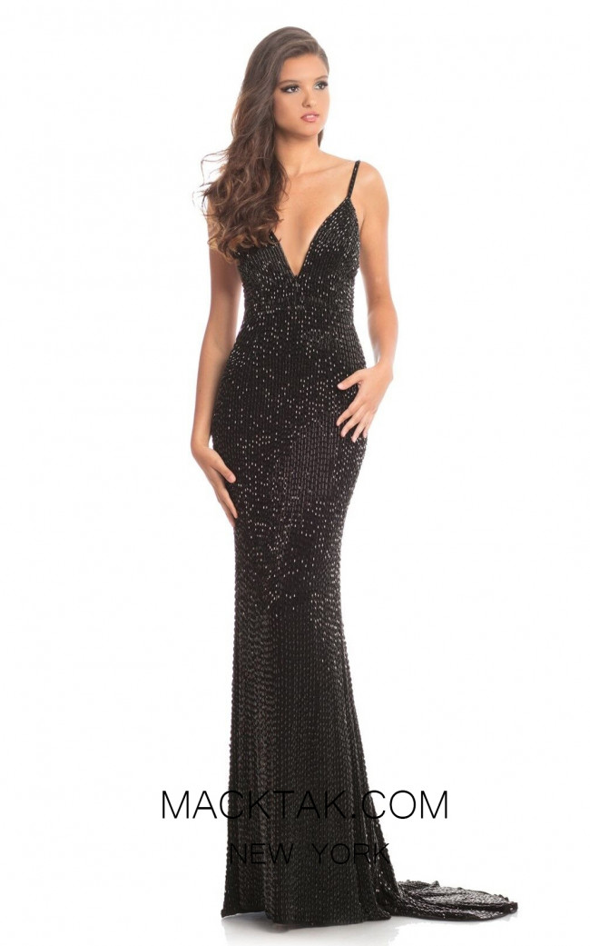 Johnathan Kayne 9098 Black Front  Dress
