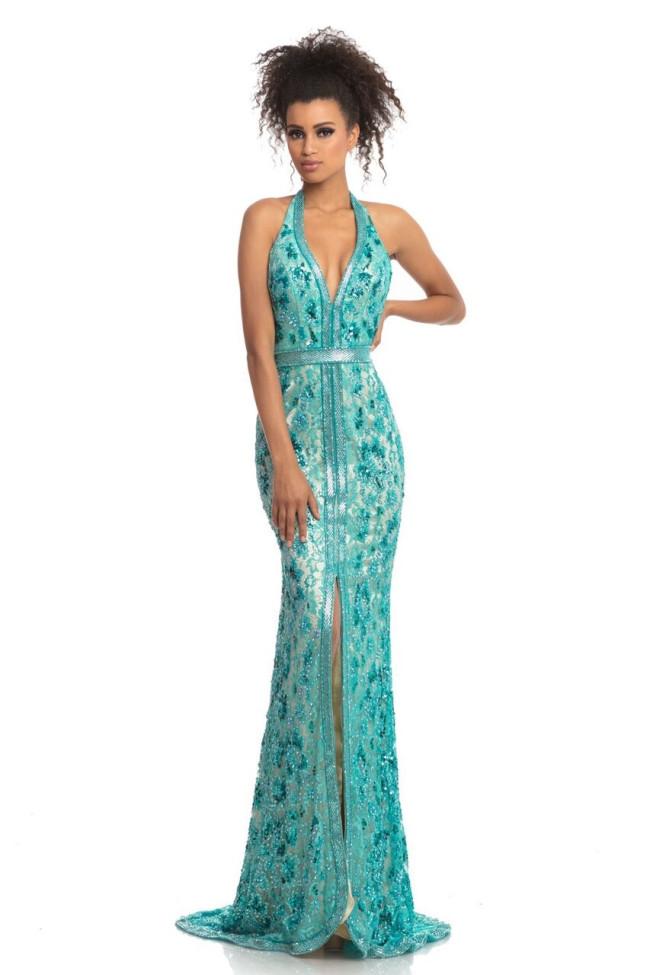 Johnathan Kayne 9100 Turquoise Front Dress