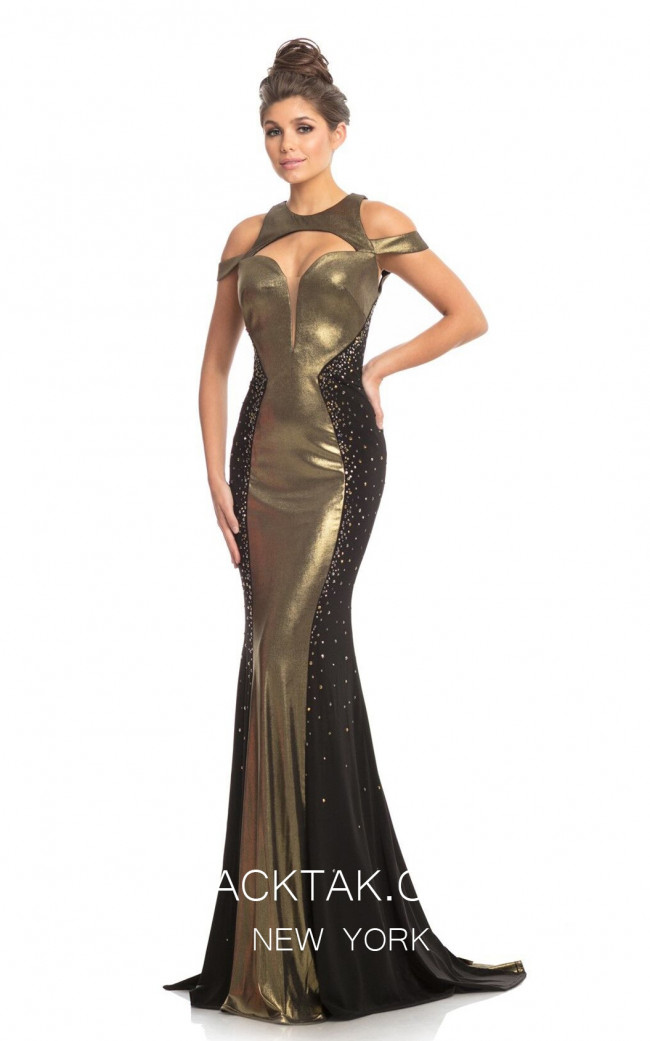 Johnathan Kayne 9118 Black Gold Front Dress