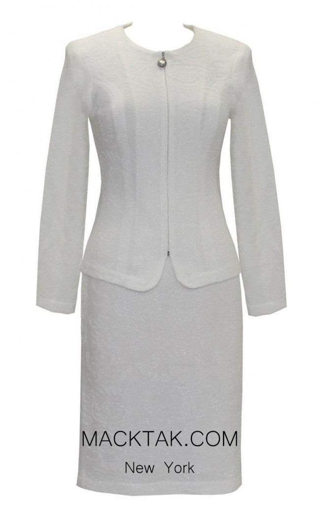 KNY H048 White Front Knit Suit