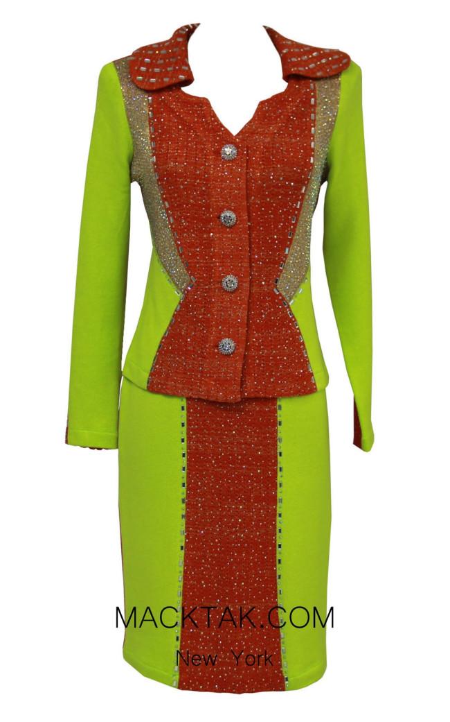 KNY H143 Orange Neon Front Knit Suit