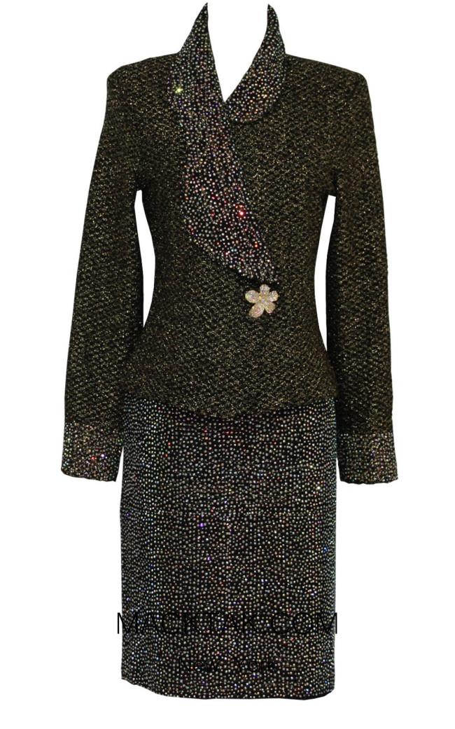 KNY H146 Black Front Knit Suit