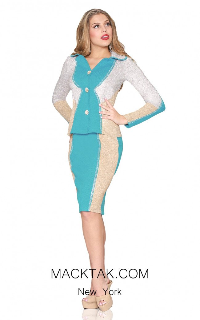 Kourosh 4884 Aqua Silver Gold Front Knit Suit