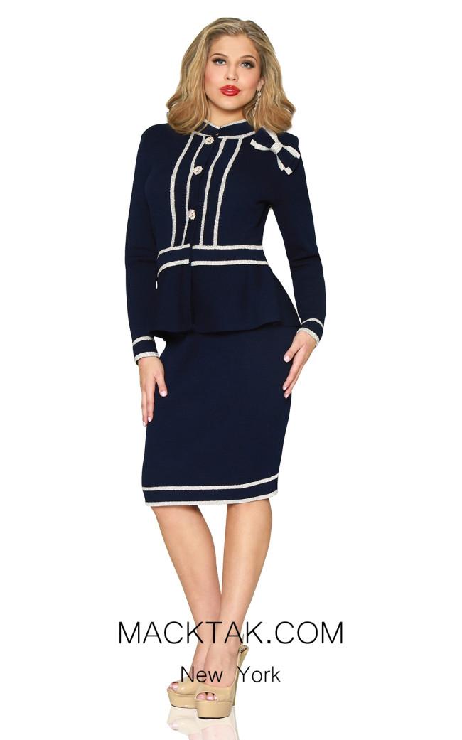 Kourosh 4907 Navy Front Knit Suit