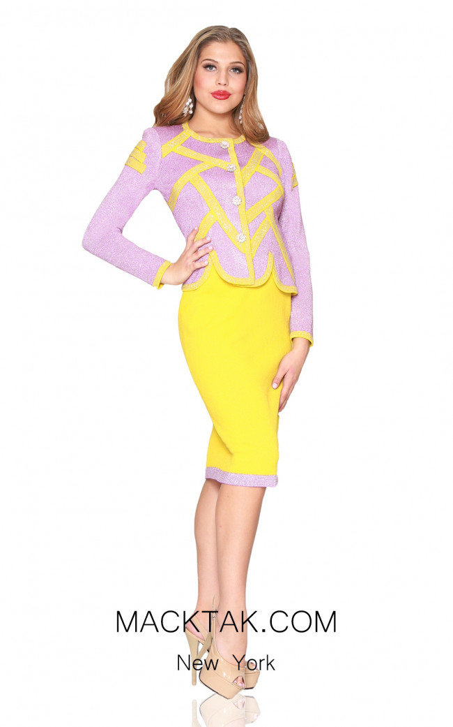 Kourosh 4910 Pink Yellow Front Knit Suit