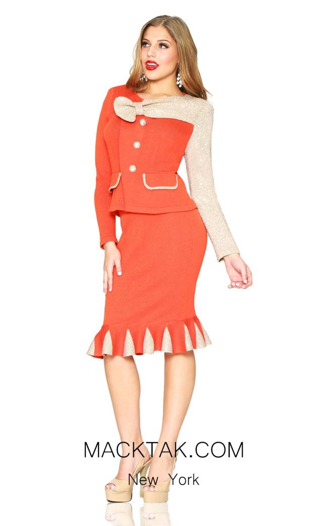 Kourosh 4920 Orange Gold Front Knit Suit