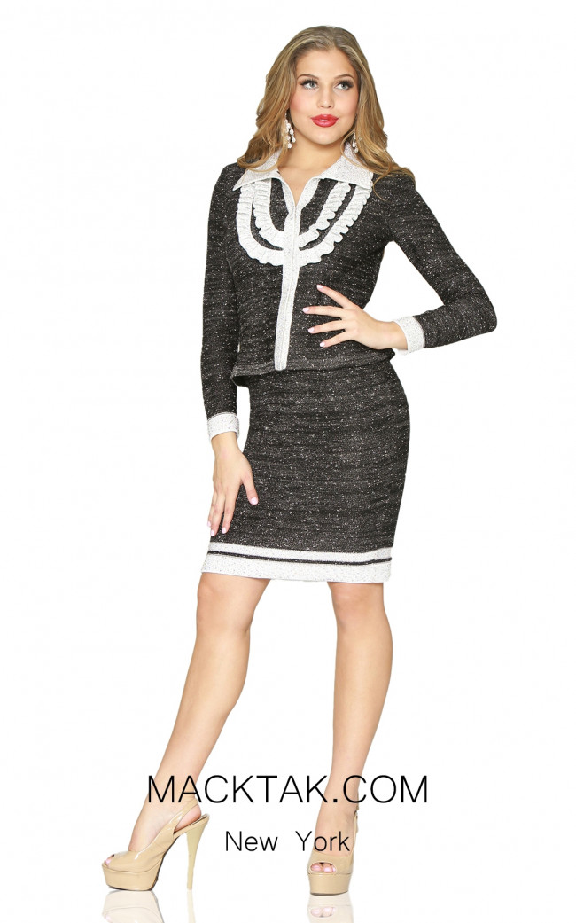 Kourosh 4931 Black White Front Knit Suit