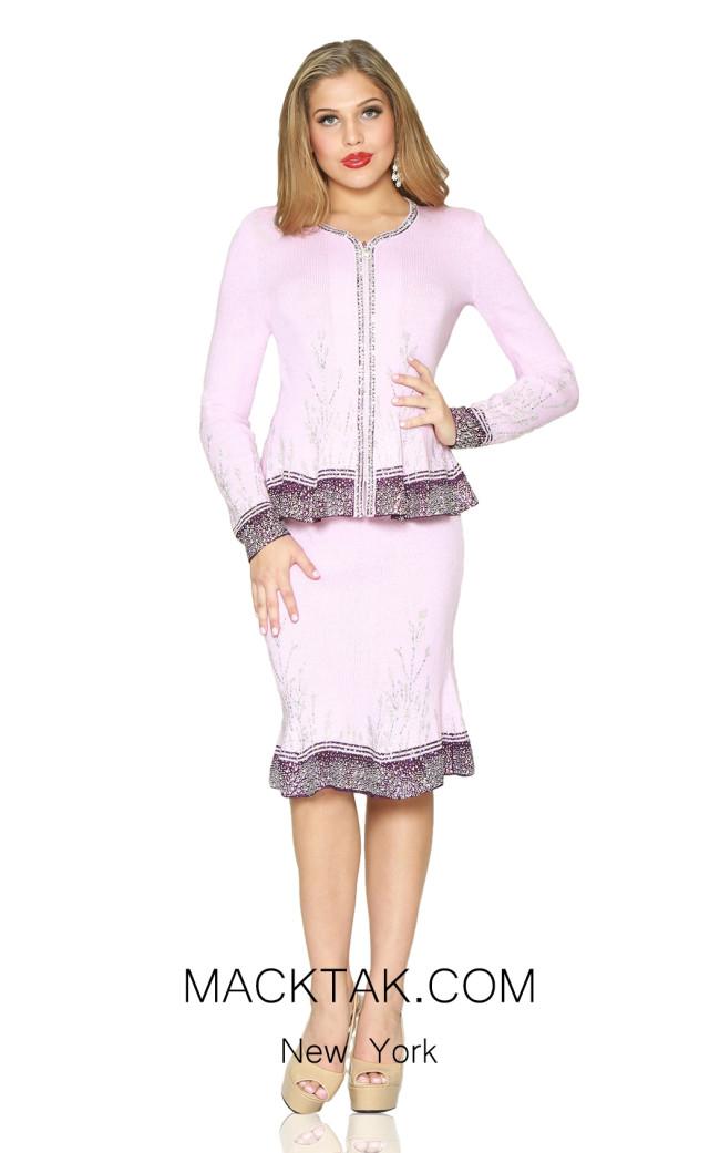 Kourosh 4936 Pink Eggplant Front Knit Suit