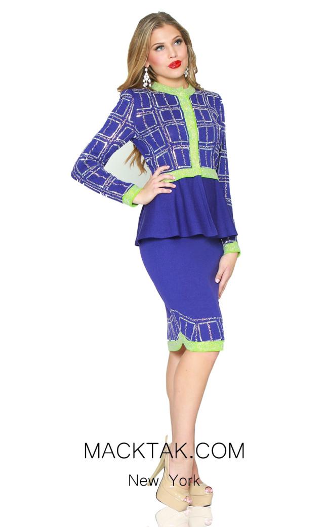 Kourosh 4946 Royal Blue Cdm Front Knit Suit