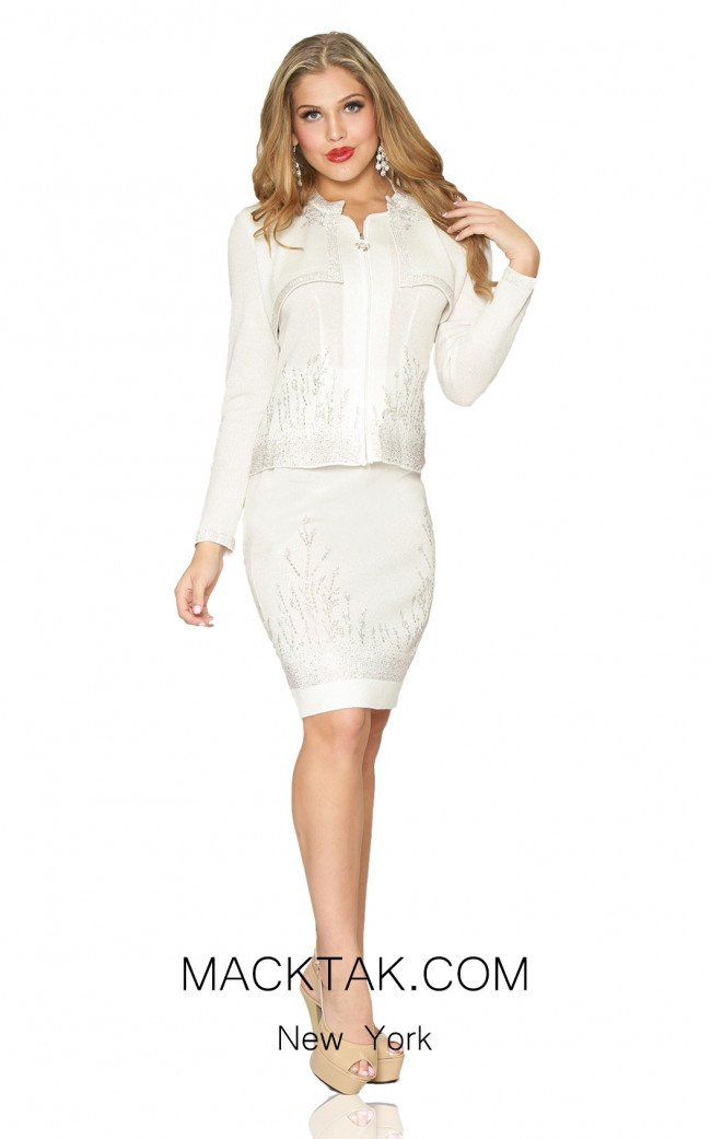 Kourosh 4955 White Front Knit Suit