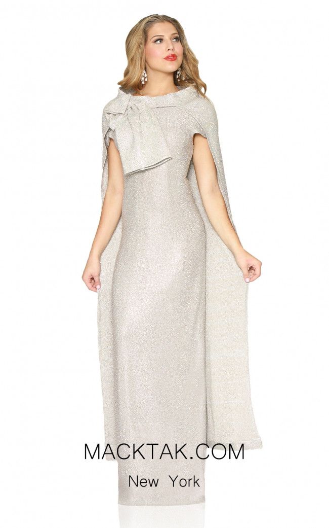Kourosh Evening 80121 Platinium Front Dress
