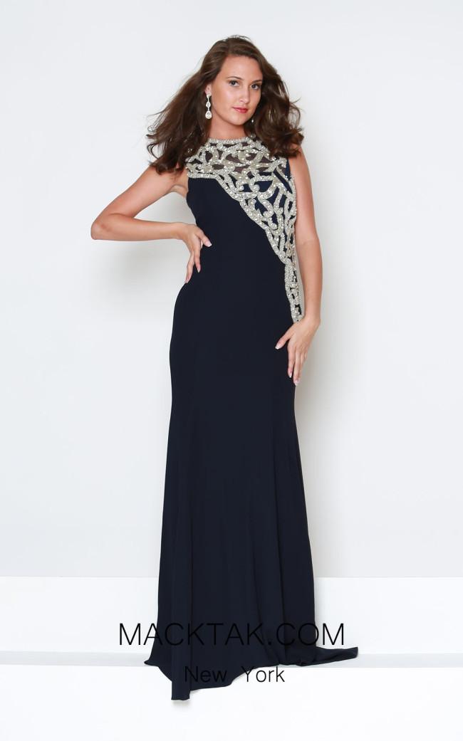 Kourosh Evening E3892 Navy Front Dress