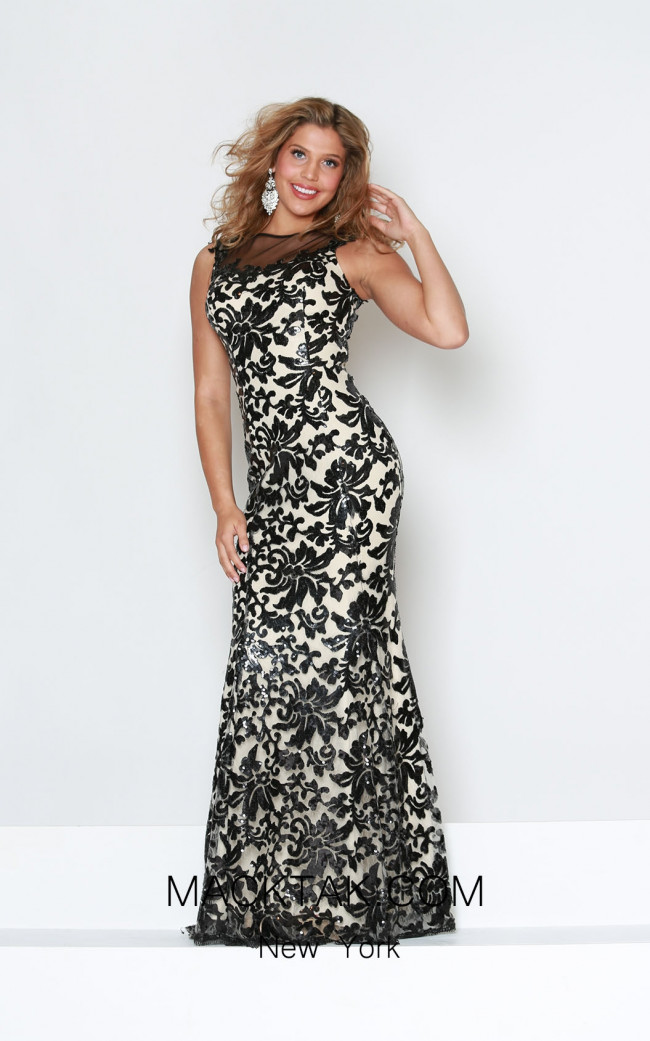 Kourosh Evening E3897 Black Nude Front Dress