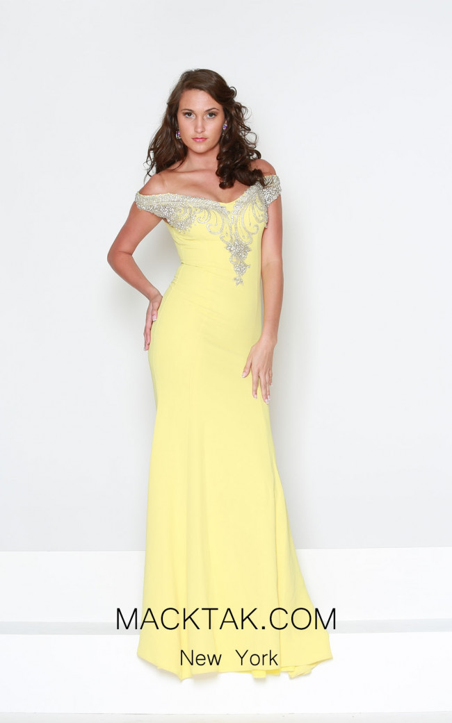 Kourosh Evening E3924 Yellow Front Dress