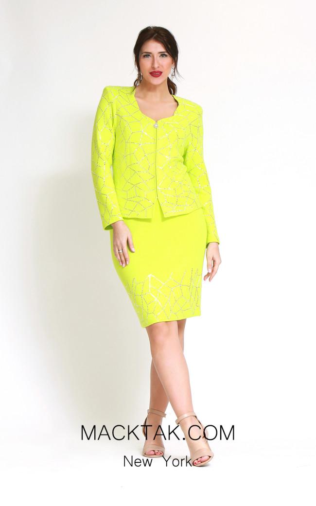 Kourosh H142 N Green Front Dress