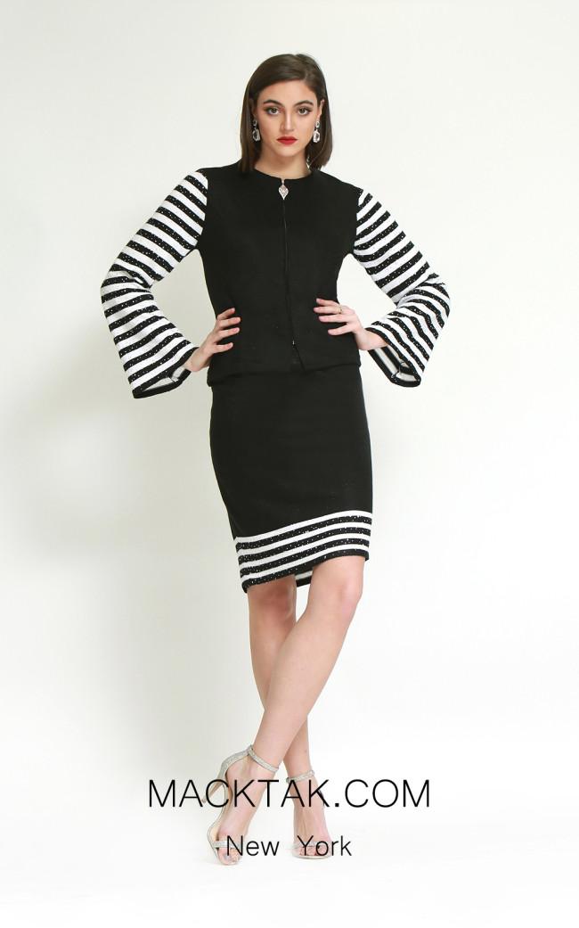 Kourosh H145 Black White Front Dress