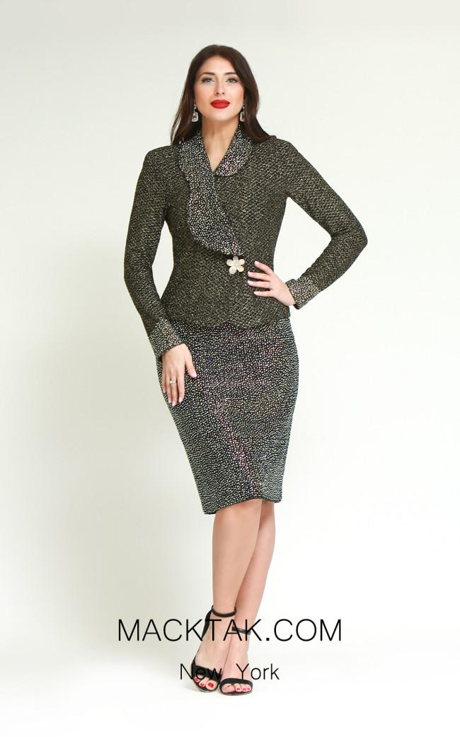 Kourosh H146 Black Gold Front Dress