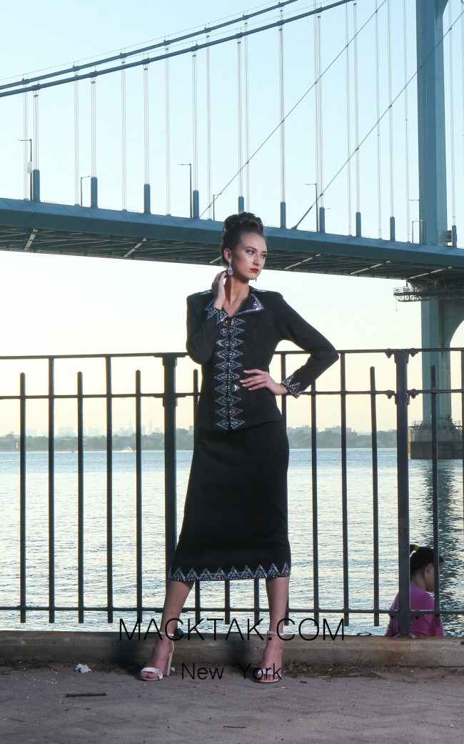 KNY H163 Black Front Knit Suit