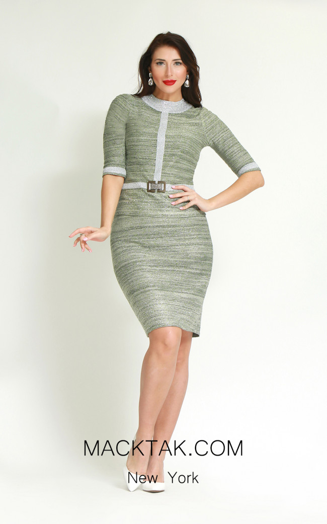 Kourosh H862 Silver Green Front Dress