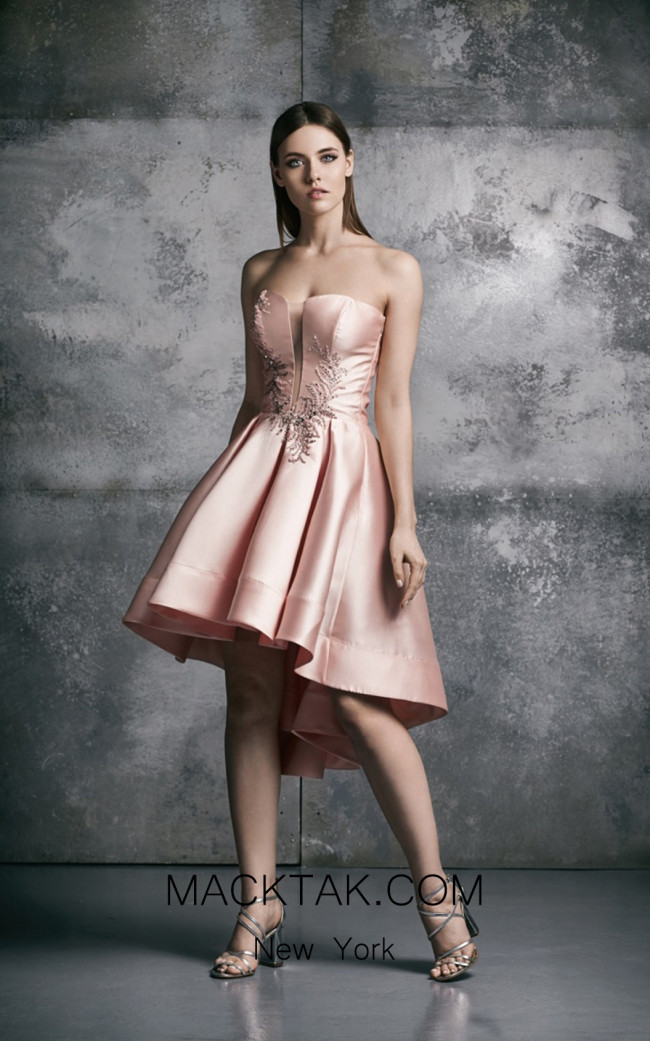 La Mode Toujours Mae Pink Front Evening Dress
