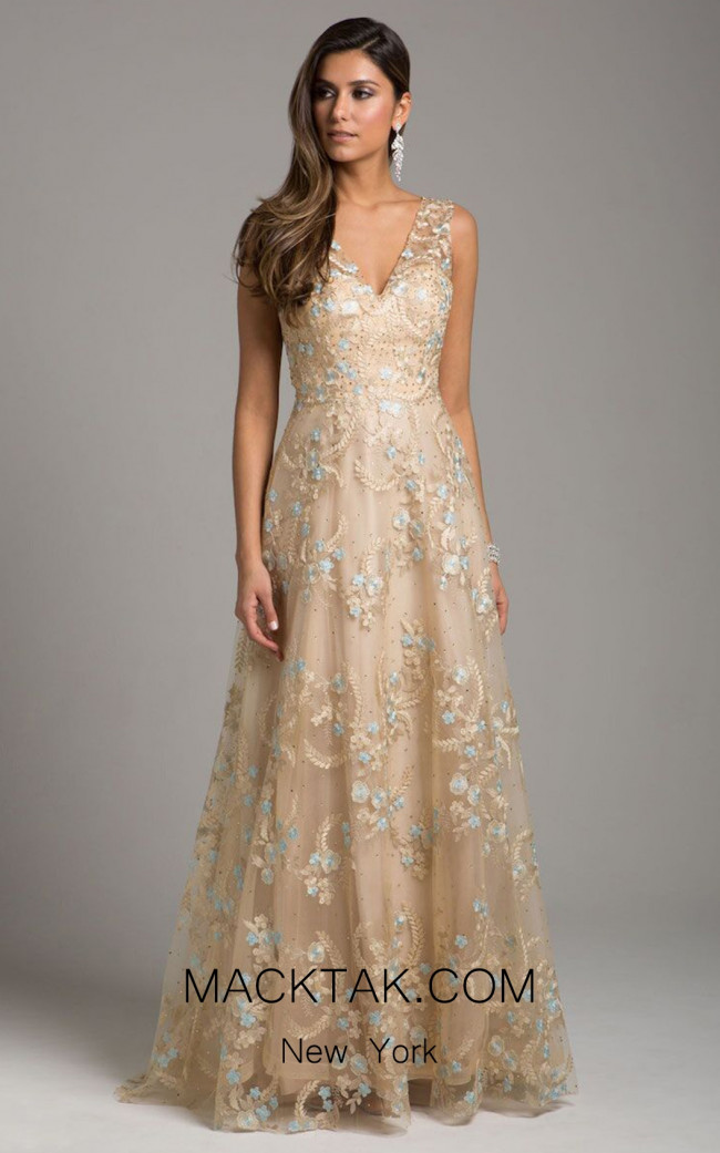 Lara 29952 Nude Blue Front Dress