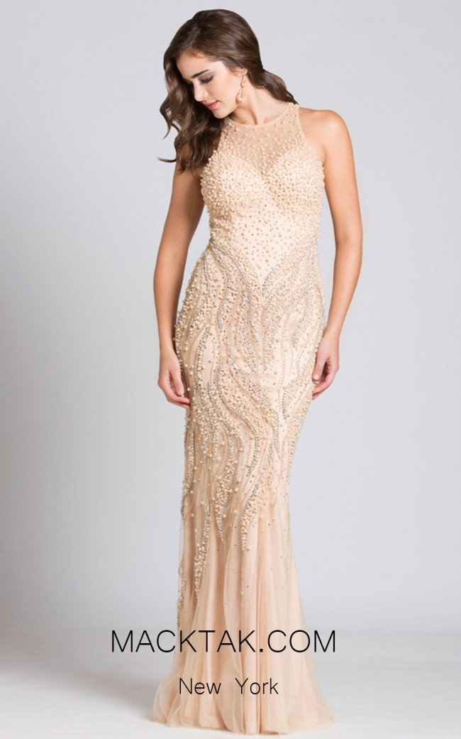 Lara 33534 Champagne Front Evening Dress