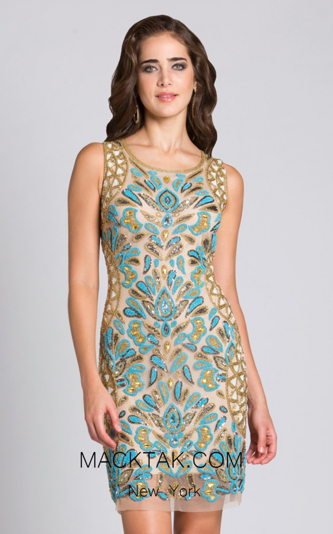 Lara 33546 Gold Front Evening Dress