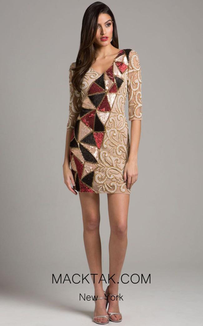 Lara 33576 Nude Multi Front Dress
