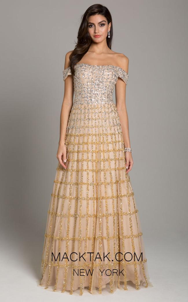 Lara 29853 Gold Silver Front Evening Dress