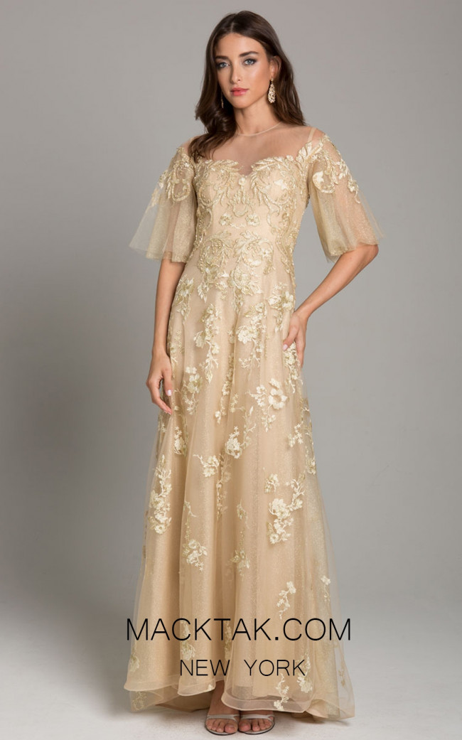 Lara 29854 Gold Front Evening Dress