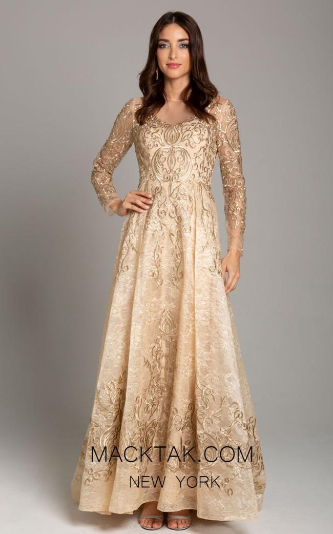 Lara 29856 Gold Front Evening Dress