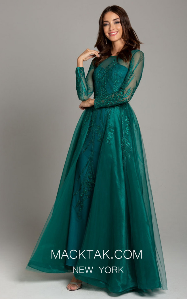 Lara 29857 Dark Green Front Evening Dress