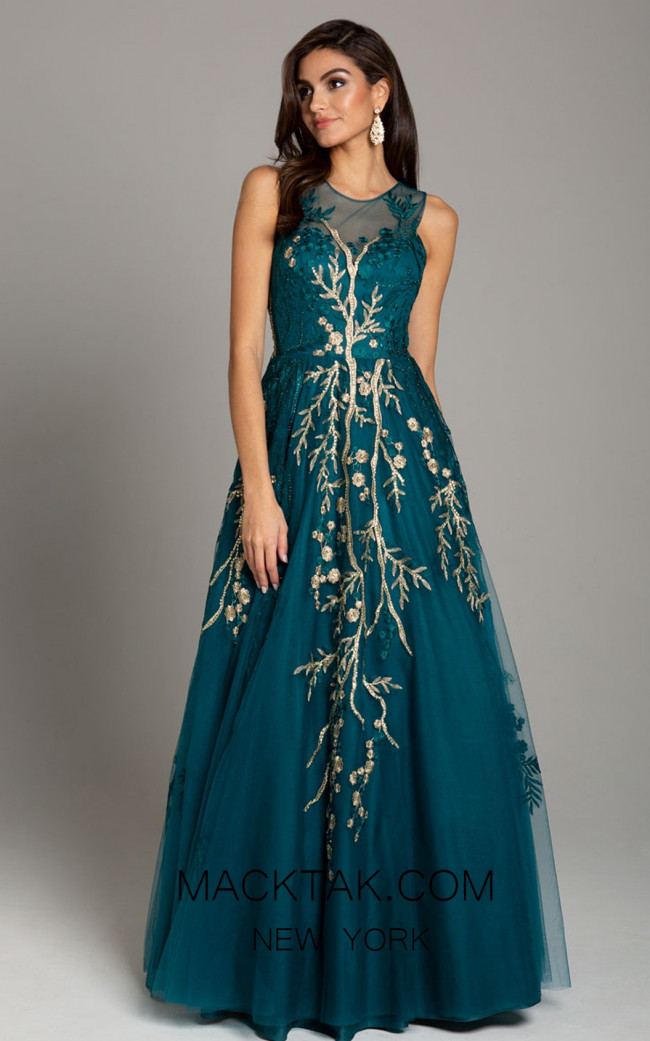 Lara 29858 Teal Front Evening Dress