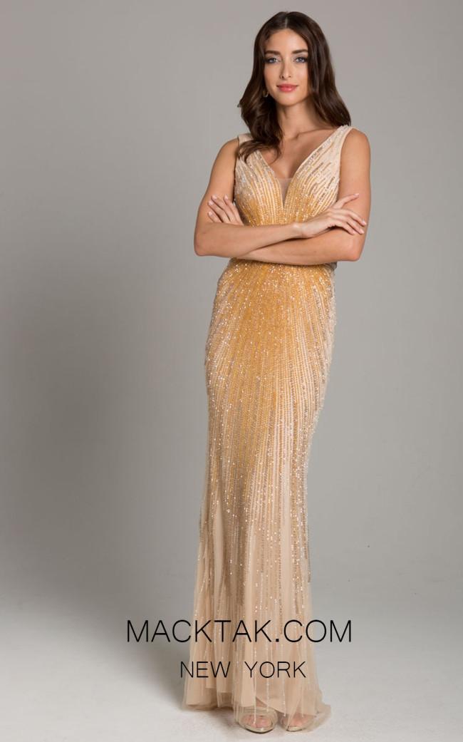 Lara 29860 Gold Front Evening Dress
