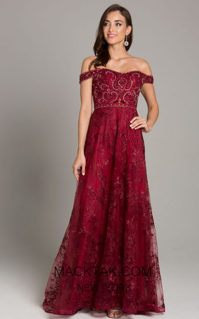 Lara 29861 Dark Red Front Evening Dress