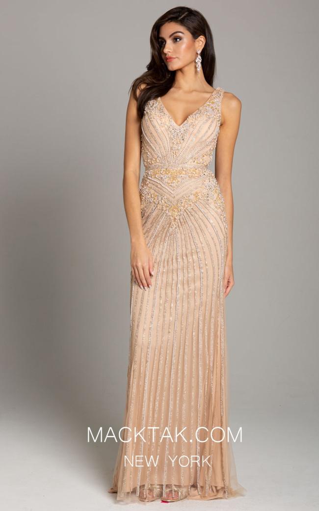 Lara 29865 Champagne Front Evening Dress