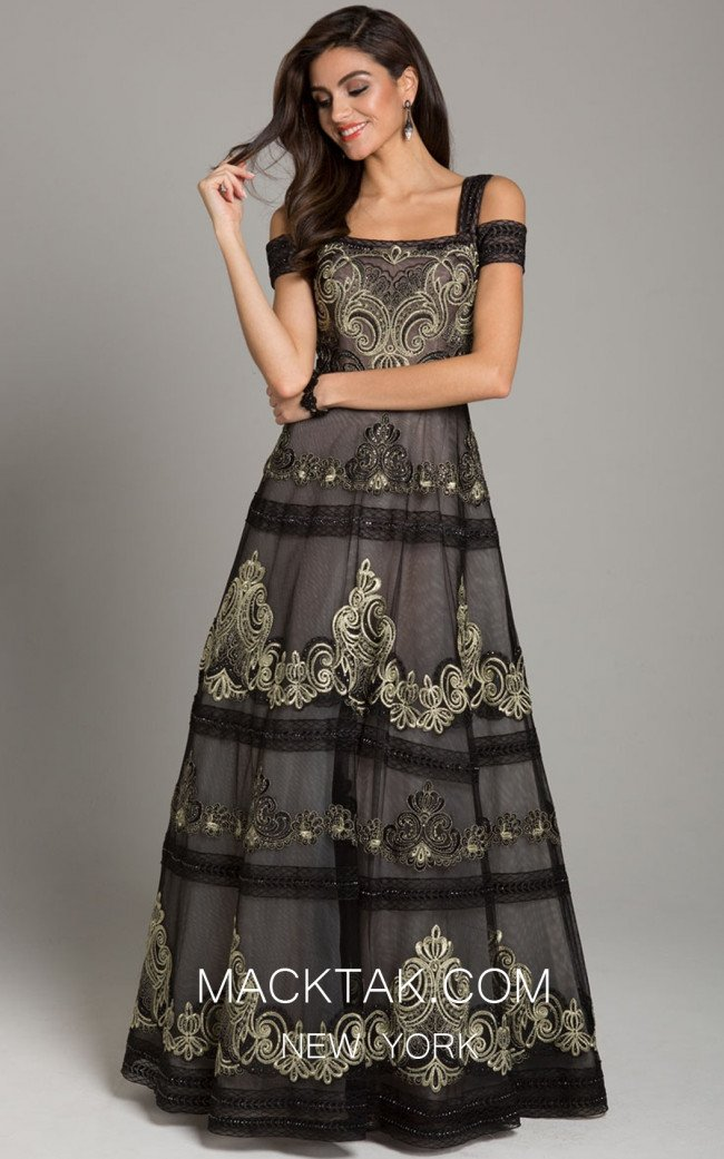 Lara 29874 Black Gold Front Dress