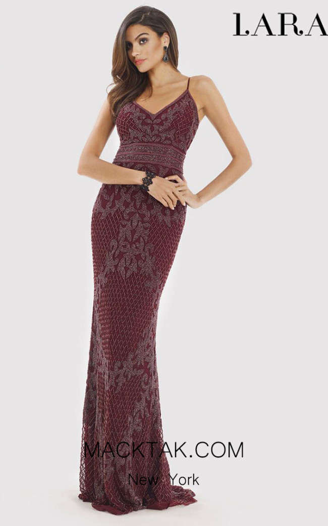 Lara 29904 Wine Back Dress
