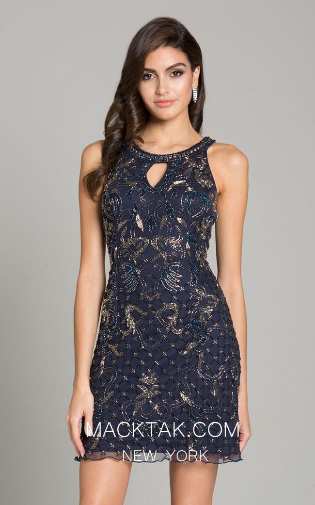 Lara 33168 Navy Front Dress