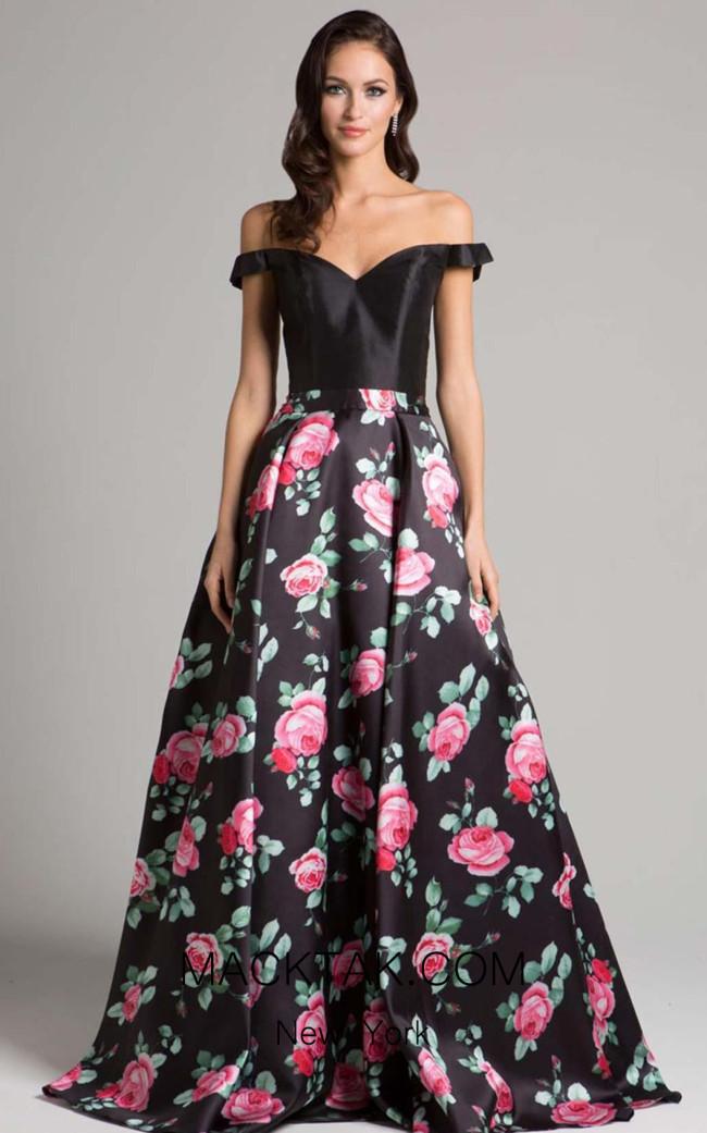 Lara 33207 Black Print Front Dress