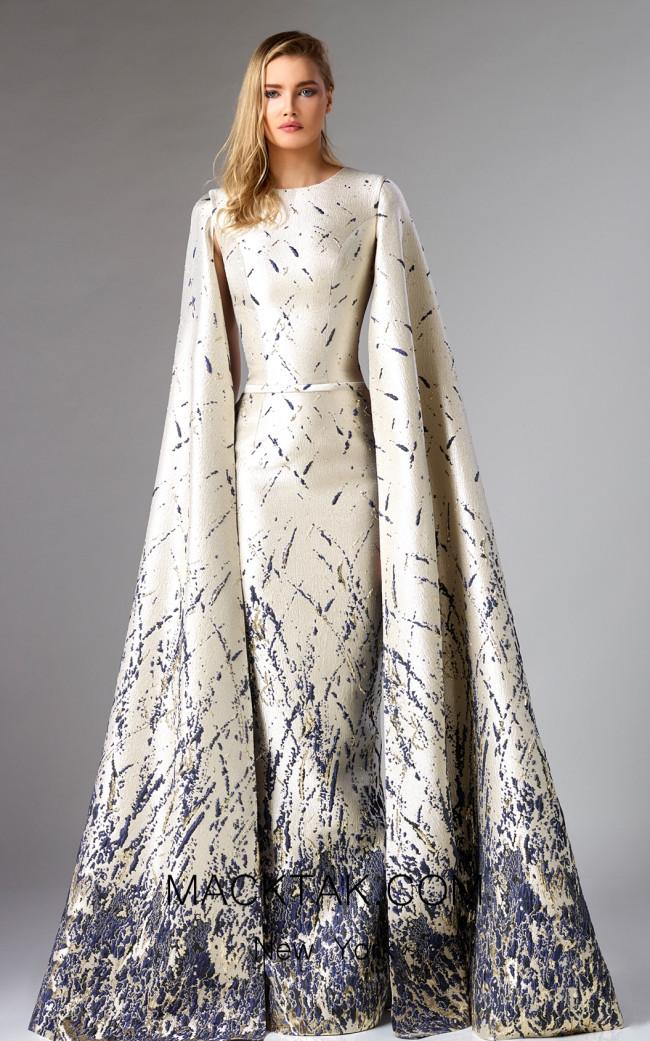 Edward Arsouni FW0276 Ivory Blue Front Dress