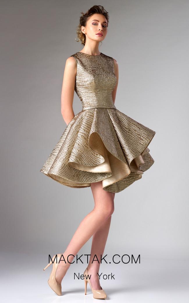 Edward Arsouni FW0278 Gold Front Dress