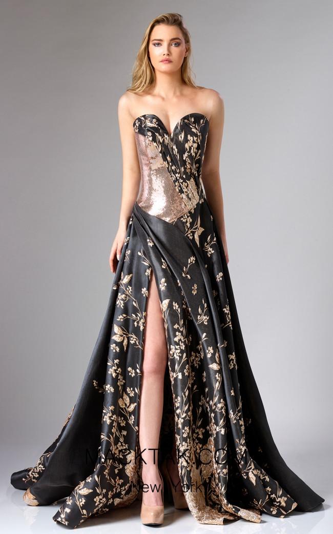Edward Arsouni FW0279 Black Gold Front Dress