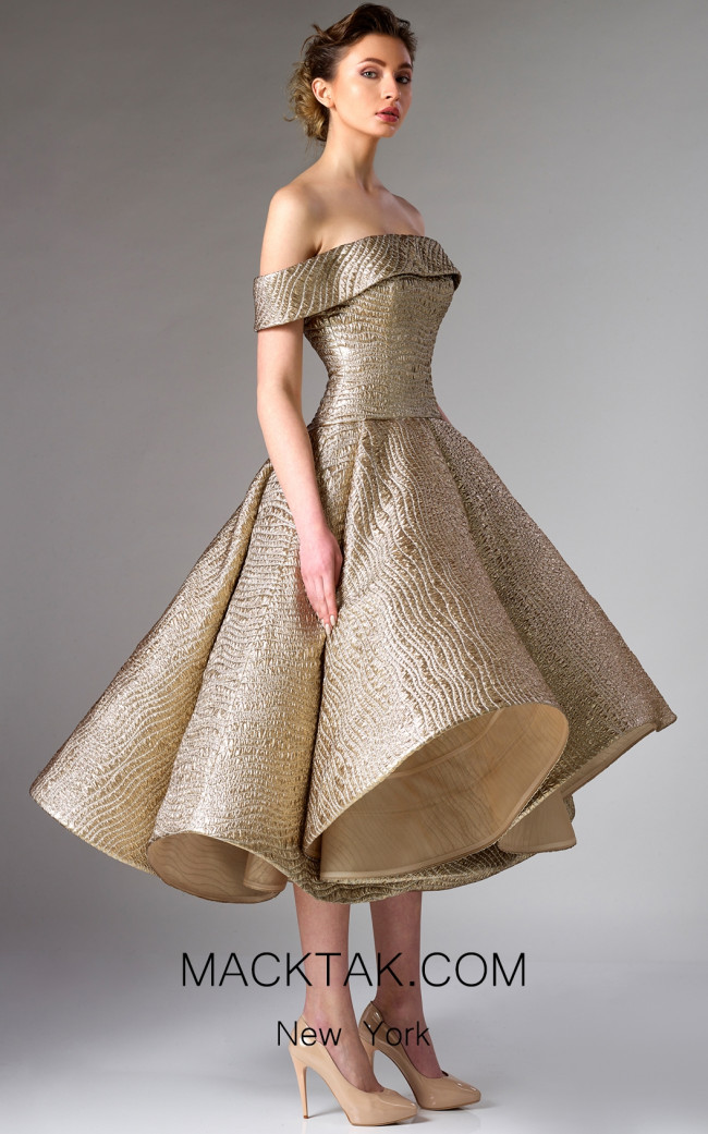 Edward Arsouni FW0281 Gold Front Dress