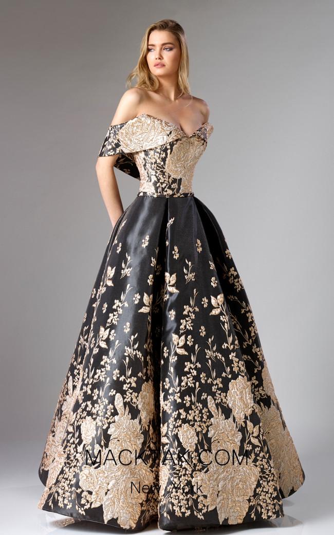 Edward Arsouni FW0282 Black Gold Front Dress