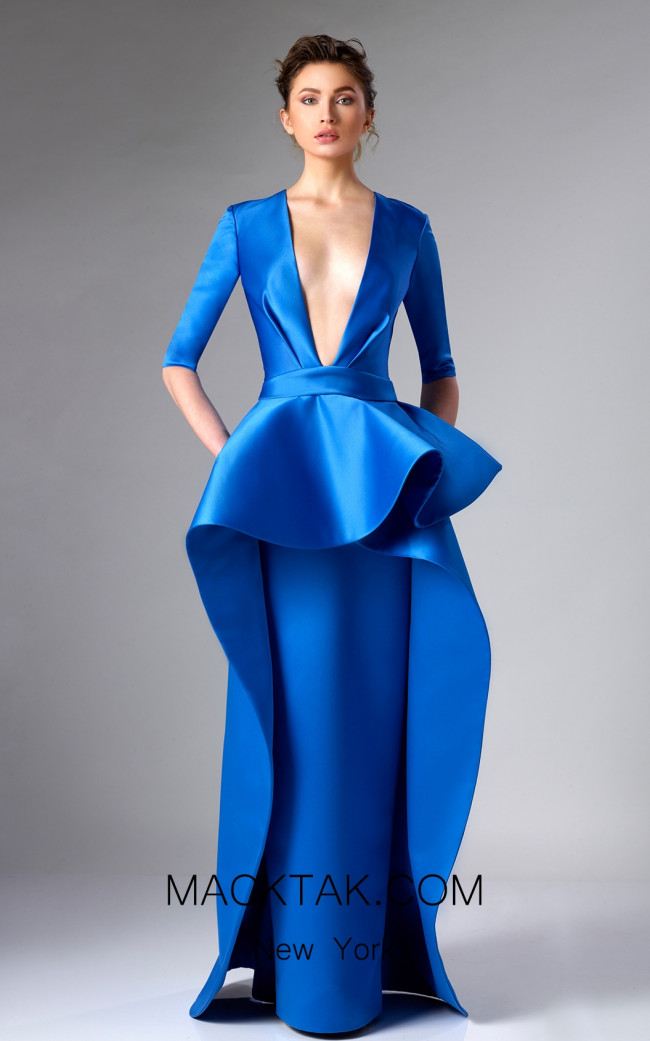 Edward Arsouni FW0285 Blue Front Dress