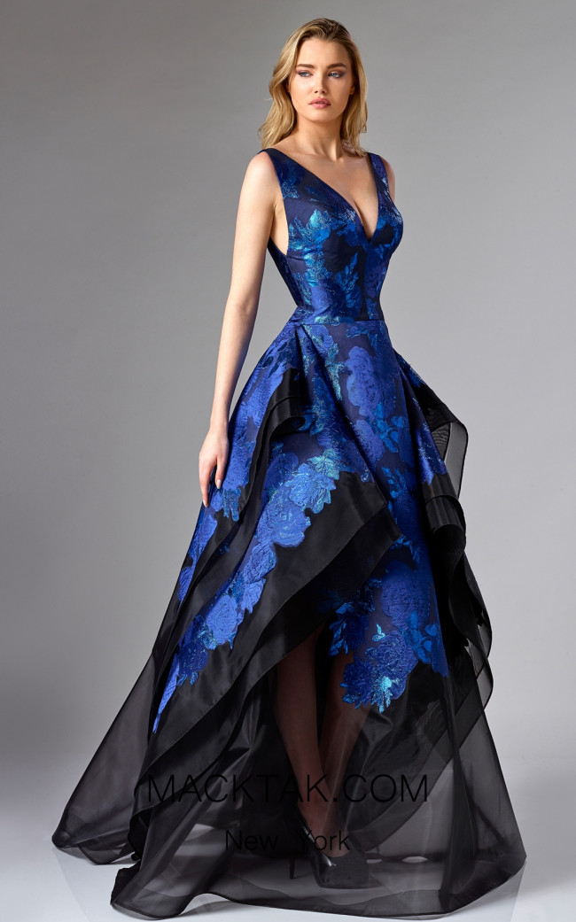 Edward Arsouni FW0290 Black Blue Front Dress