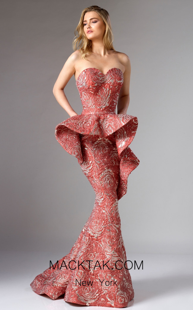 Edward Arsouni FW0293 Red Gold Front Dress