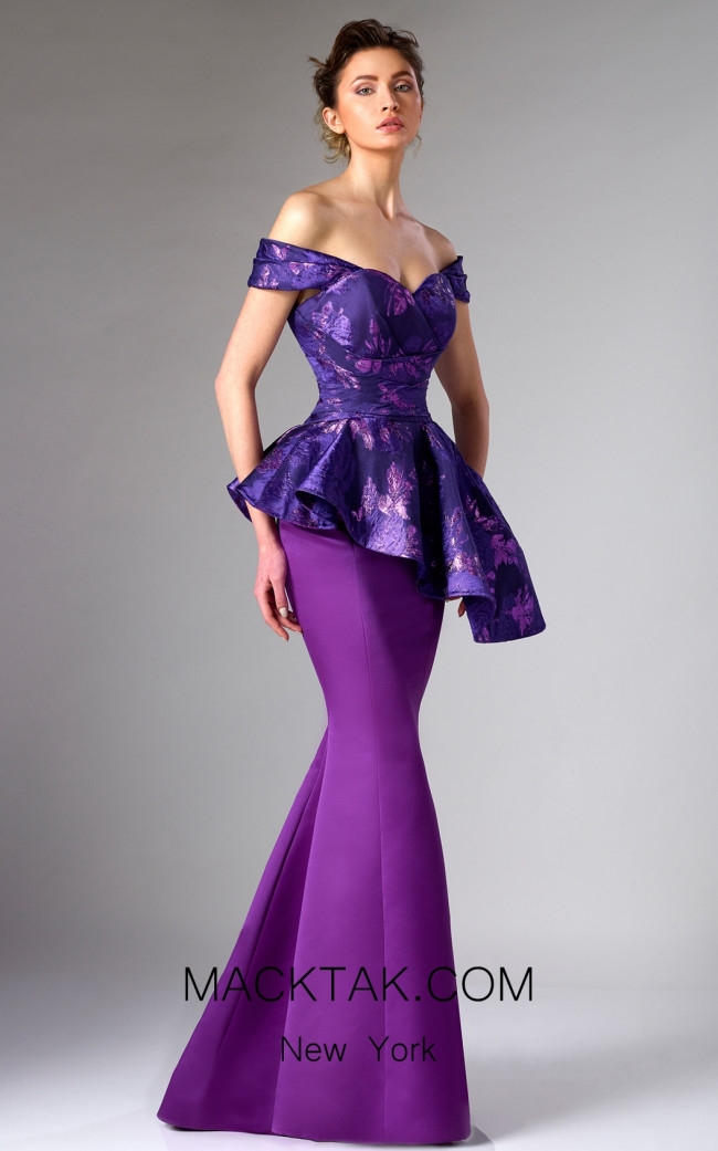 Edward Arsouni FW0301 Purple Front Dress
