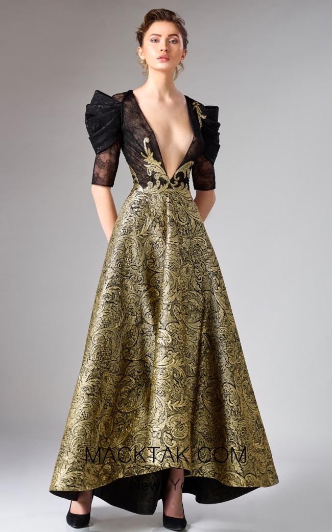Edward Arsouni FW0322 Black Gold Front Dress